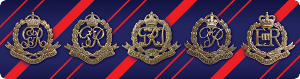 Badges of the RMP/CMP on the blue and red striped colours of the Corps